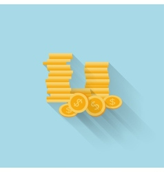 Flat web icon coin money vector