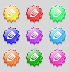 Pencil icon sign symbol on nine wavy colourful vector