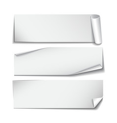 Set of rectangular paper stickers on white vector