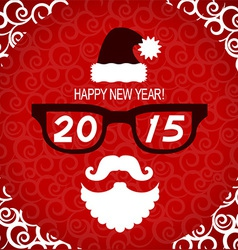 New year hipster greeting card with santa vector