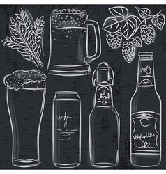 Set of beer bottle on blackboard vector