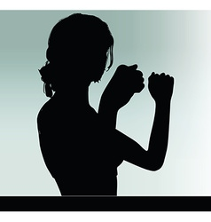 Woman silhouette with hand gesture power and might vector