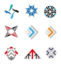 Set of 9 arrow logo element vector