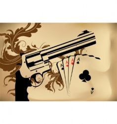 Revolver and playing cards vector
