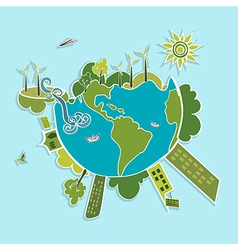 Green world ecologic elements vector