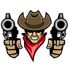 Cowboy mascot aiming the guns vector