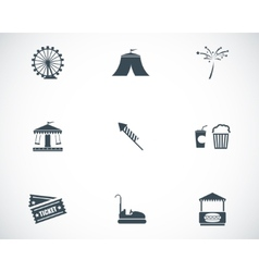 Black carnival icons set vector
