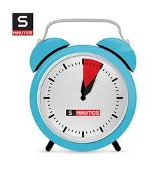 Five 5 minutes alarm clock vector