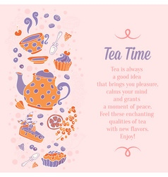 Elegant set of hand drawn tea and cakes banners vector