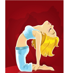 Cute blond girl in a yoga pose of camel on red vector