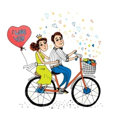 Two young lovers riding a tandem bicycle vector