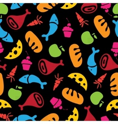 Pattern of fruits vegetables and food vector