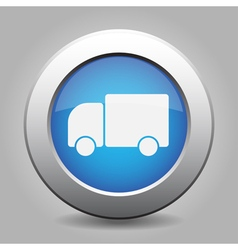Blue metal button with lorry car vector