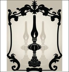 Oil lamp stencil vector