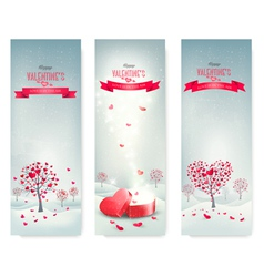 Holiday retro banners valentine trees with vector