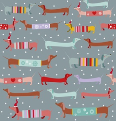 Dogs and snow holiday pattern vector