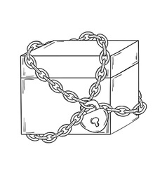 Closed paper box with chain and lock vector