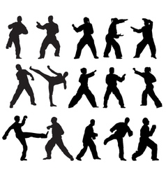 Martial art poses vector