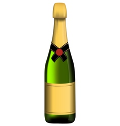 Green bottle of sparkling wine vector