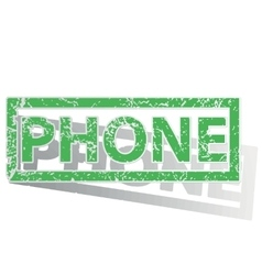 Green outlined phone stamp vector