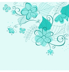 Blue abstract floral vector