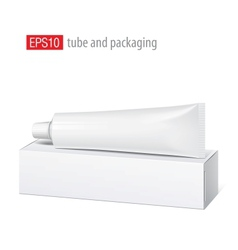 Realistic white tube and packaging vector