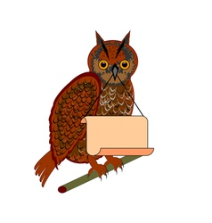 An owl holding a big blank paper in his beak vector