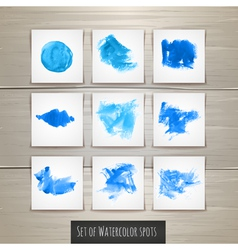 Set of bright blue watercolor brush strokes vector