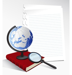 Paper sheets and globe vector