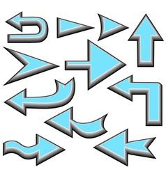 Set of blue arrows vector