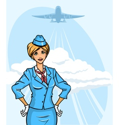 Background with stewardess vector