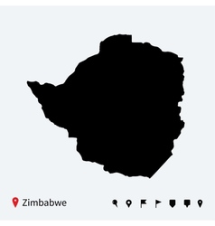 High detailed map of zimbabwe with navigation pins vector