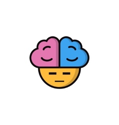 Suspicious smiley with big brains vector