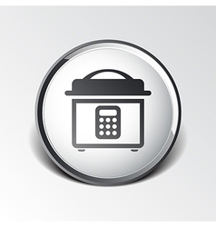 Multicooker monochrome icon button chef cook vector