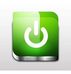 Glossy square power button vector