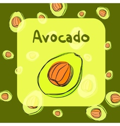 Avocado sketch background for recipe vector