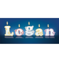 Logan written with burning candles vector