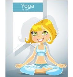 Cute blond in a yoga lotus position with bunner vector