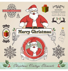Vintage christmas elements set vector