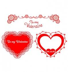 Valentine retro hearts vector