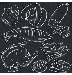 Set of different meats on blackboard vector