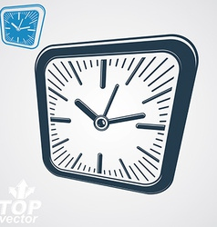 3d square wall clock with black dial simple vector