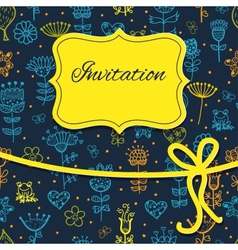Hand draw floral invitation card vector