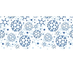 Blue molecules texture horizontal seamless pattern vector