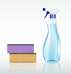Plastic spray bottle with cleaning liquid and vector