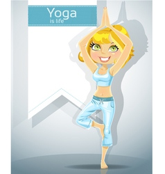 Cute blonde in a yoga pose 1 vector