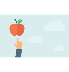 Hand pointing to apple vector