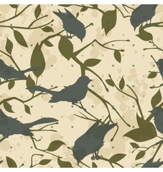 Seamless grungy pattern with birds and tree vector