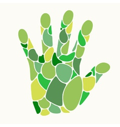 Hand in shades of green vector