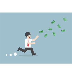 Businessman chasing falling dollar bills vector